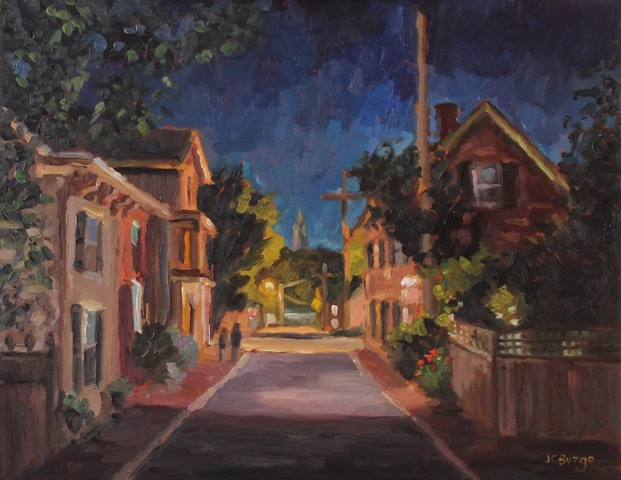 GEORGE STREET NIGHTFALL I by Jean Childs Buzgo - 11 x 14 in., o/b • SOLD