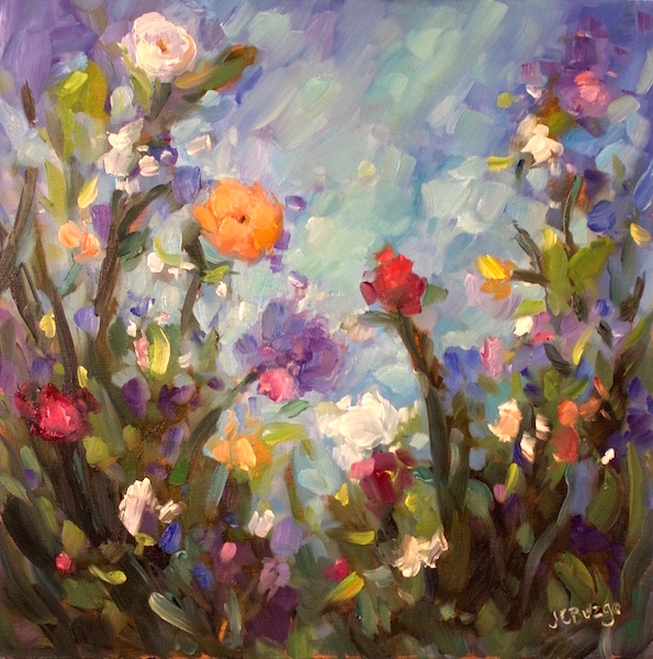 GARDEN MIX by Jean Childs Buzgo - 12 x 12 in, o/b • SOLD