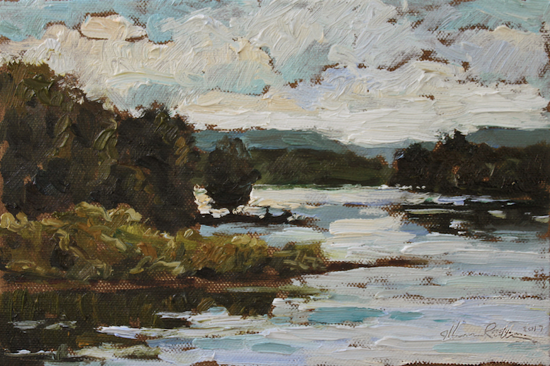 FRENCHTOWN HAZE by Jennifer Hansen Rolli - 6 x 9 in., o/c • $1,450 in Madary frame