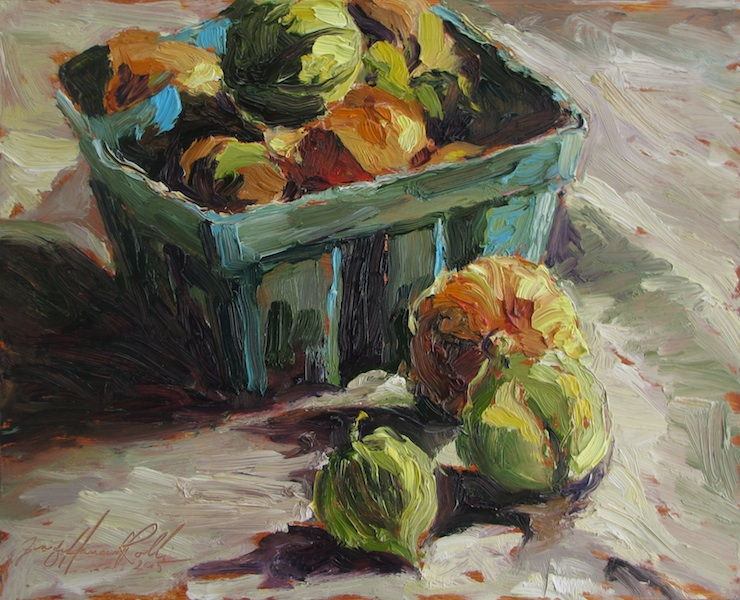TOMATILLOS by Jennifer Hansen Rolli - 8 x 10 in., o/b • $1,800
