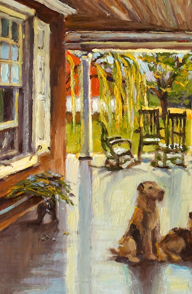 ON THE PENNYPACKER PORCH by Jennifer Hansen Rolli - 12 x 9 in., o/b • SOLD