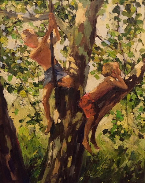 TWO BOYS OUT ON A LIMB by Jennifer Hansen Rolli - 14 x 11 in., o/b • SOLD
