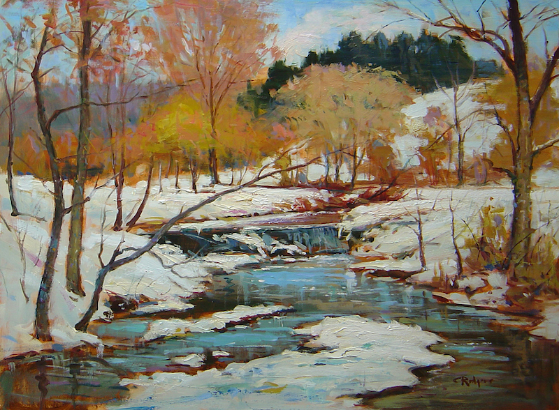 BUCKS COUNTY WINTER by Jim Rodgers - 18 x 24 in., o/b • $4,950 in Madary frame