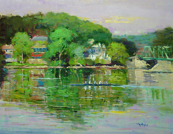 SCULLING THE DELAWARE by Jim Rodgers - 16 x 20 in., o/b • $3,700
