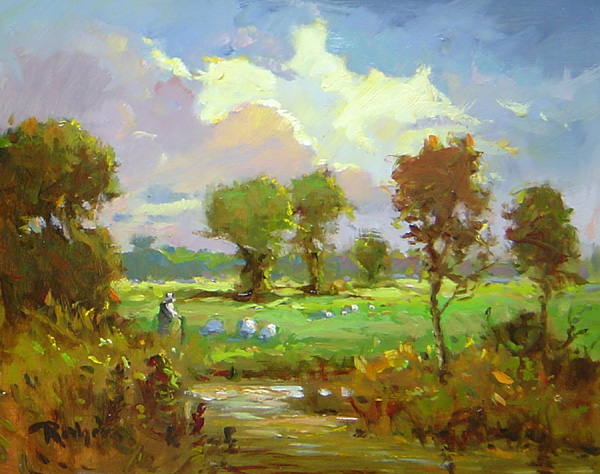 TWILIGHT ON THE MEADOW by Jim Rodgers - 8 x 10 in., o/b • $1,550 in Madary frame