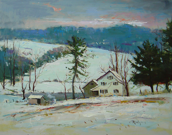 WINTER IN THE COUNTRY by Jim Rodgers - 16 x 20 in., o/b • $3,700
