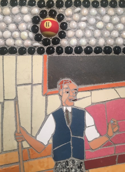 SIDE POCKET (detail) by Jonathan Mandell - 36 x 48 x 3 wall mosaic • $9,500