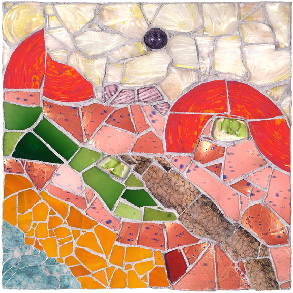 DUTCH LANDSCAPE by Jonathan Mandell - 24 x 24 x 4 in., wall mosaic • $3,500
