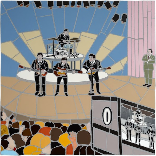 THE BEATLES ON THE ED SULLIVAN SHOW by Jonathan Mandell - 32 X 32 X 2 in., wall mosaic • SOLD