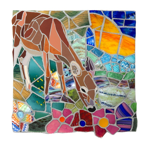 AND I LOVE HER SO by Jonathan Mandell - 24 x 25 x 3 in., wall mosaic • SOLD