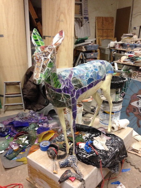 MUSE OF MY SOUL (in progress, view 1) by Jonathan Mandell - 67 x 64 x 25 in., life-size mosaic sculpture • SOLD