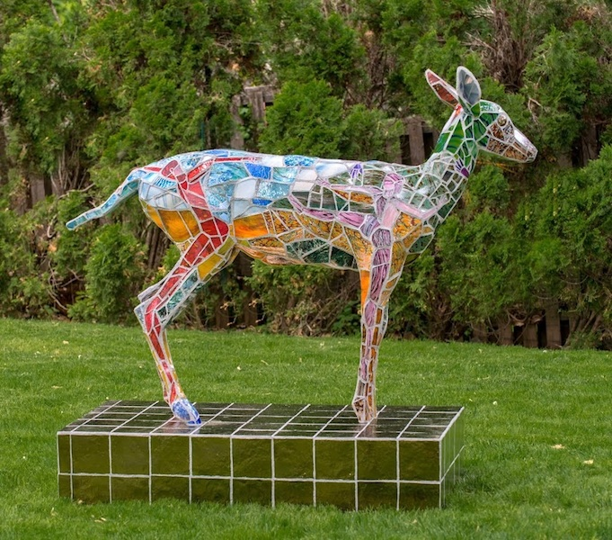MUSE OF MY SOUL (view 2) by Jonathan Mandell - 67 x 64 x 25 in., life-size mosaic sculpture • SOLD