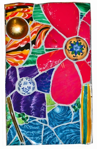FLORAL STUDY 2010 by Jonathan Mandell - 25 x 15 x 4 in., wall mosaic • $2,950