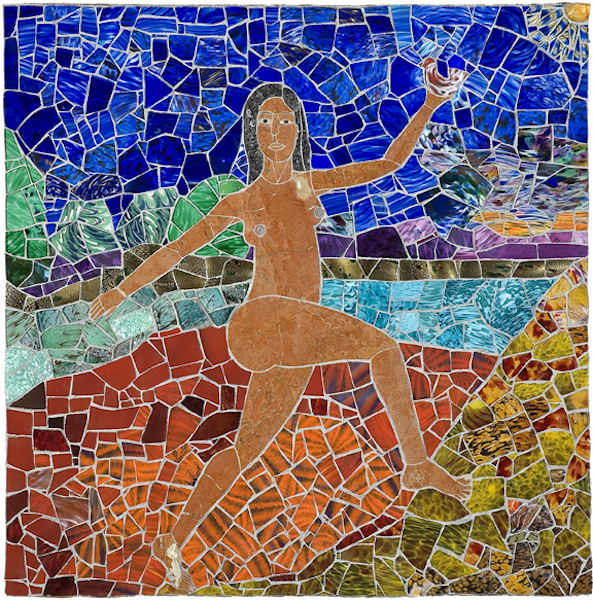 ASCENSION OF YOUTH by Jonathan Mandell - 48 x 48 x 3 in., wall mosaic •