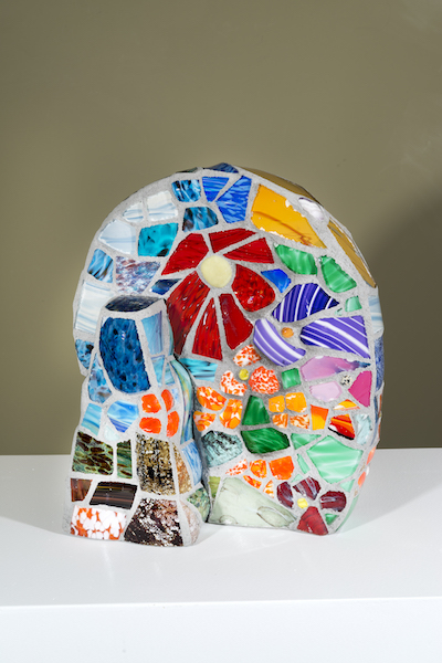 FLORAL STUDY (view 2) by Jonathan Mandell - 17 x 14 x 9 in., table top mosaic sculpture • $1,200