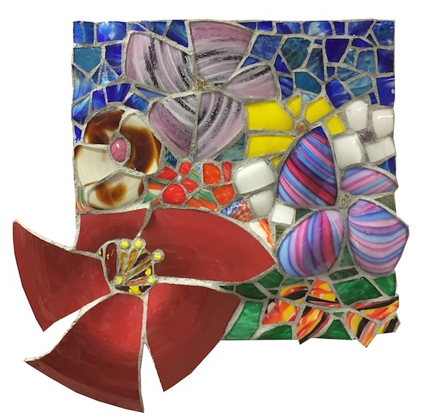 NATURE STUDY XI by Jonathan Mandell - 30 x 30 x 3 in., wall mosaic • SOLD