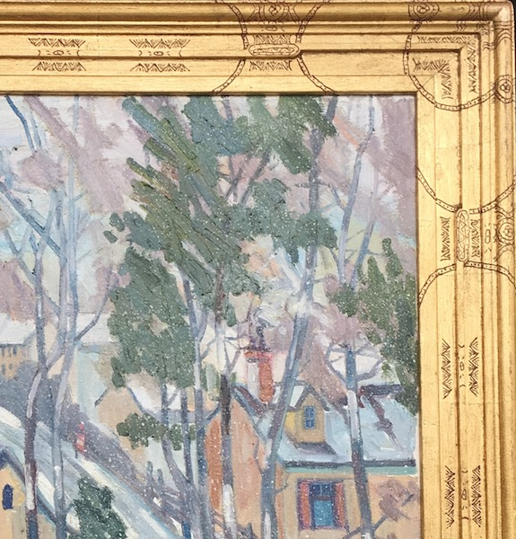 SNOW DAY (frame detail) by Joseph Barrett - 32 x 28 in., o/c • SOLD