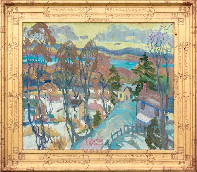 RIVER VILLAGE (framed) by Joseph Barrett - 22 x 26 in., o/c • $5,700