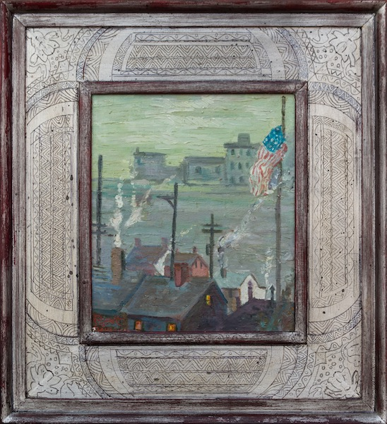 WINTER DAY, DOWN RIVER by Joseph Barrett - 14 x 12 in., ol • $3,600 in rare silver-tone Barrett frame