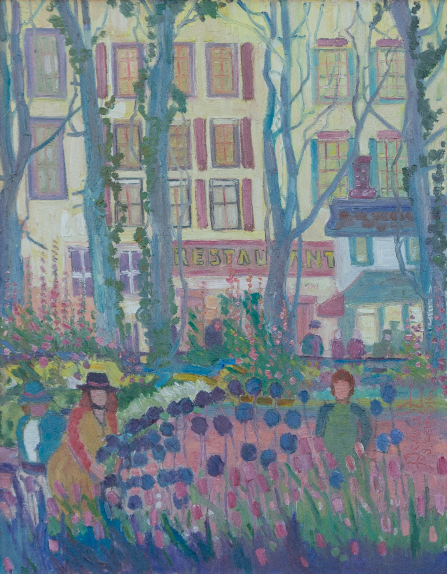 TOWN GARDEN, LAMBERTVILLE (TWO SISTERS) by Joseph Barrett - 28 x 22 in., o/c • SOLD