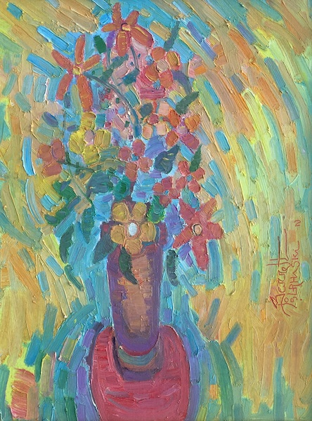 BOUQUET: RED TABLE by Joseph Barrett - 18 x 14 in., o/c • $3,200