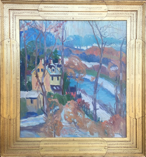 CANAL IN WINTER  by Joseph Barrett - 24 x 22 inches, o/c • SOLD