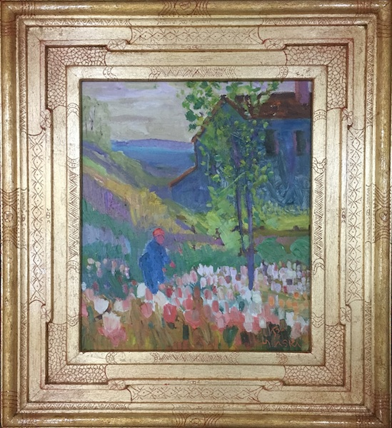 MUELLER'S BULB FARM by Joseph Barrett - 14 x 12 in., o/c • SOLD