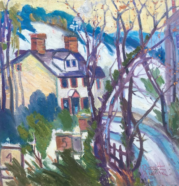 BEE KEEPER'S HOUSE by Joseph Barrett,  22 in. sq., o/c • SOLD