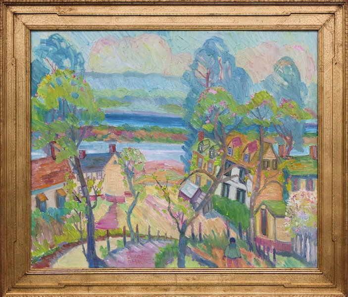 SPRING ALONG THE DELAWARE by Joseph Barrett - 30 x 36 in., o/c • $9,500