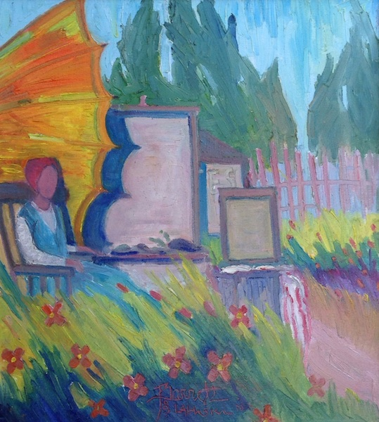 FIELD OF FLOWERS, PLEIN AIR PAINTER by Joseph Barrett - 20 x 18 in., o/c • $5,000