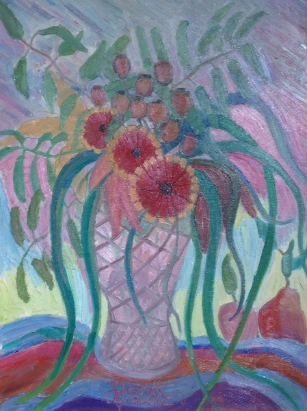 BOUQUET WITH ROSE HIPS by Joseph Barrett - 24 x 18 inches, o/c • $5,500