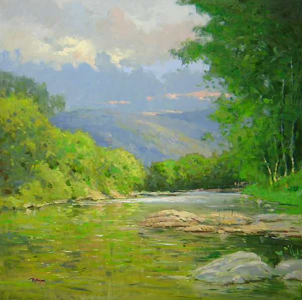 NEW: JUNIATA RIVER, STATE COLLEGE by Jim Rodgers - 24 x 24 in., o/b