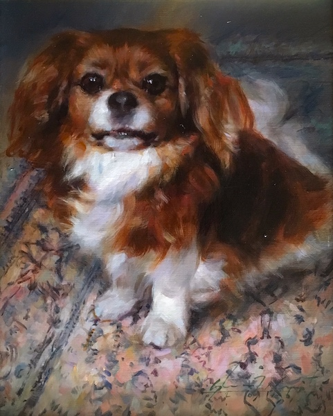 Ask about having a Harrington portrait of your favorite pet! KING CHARLES SPANIEL by Glenn Harrington - 10 x 8 in., $3,500