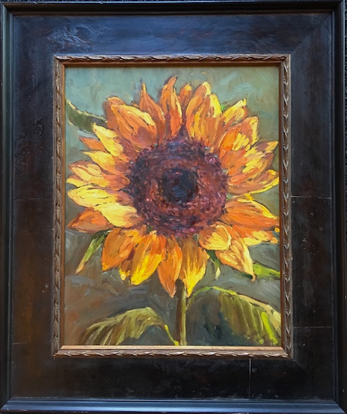 LATE SUMMER SUNFLOWER by Jennifer Hansen Rolli - 14 x 11 in., o/b • SOLD (Fall 2017 cover of MONTCO Magazine)