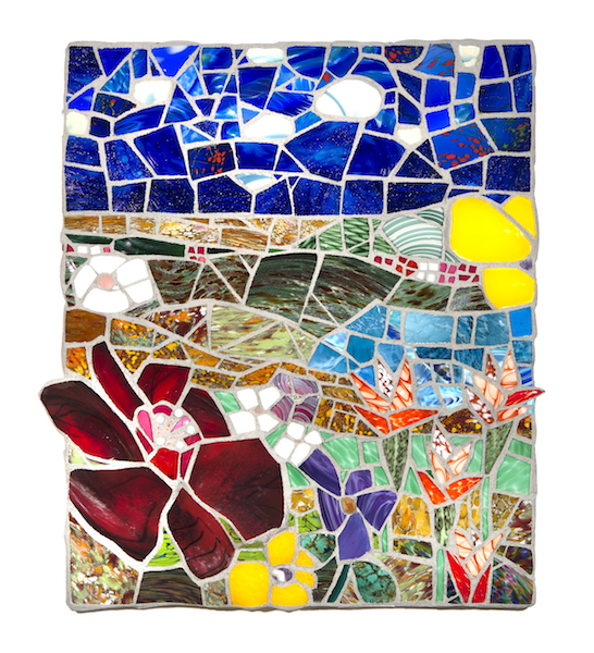 FLORAL LANDSCAPE AT NOON (commission) by Jonathan Mandell - 38 X 32 X 3 in., wall mosaic • SOLD