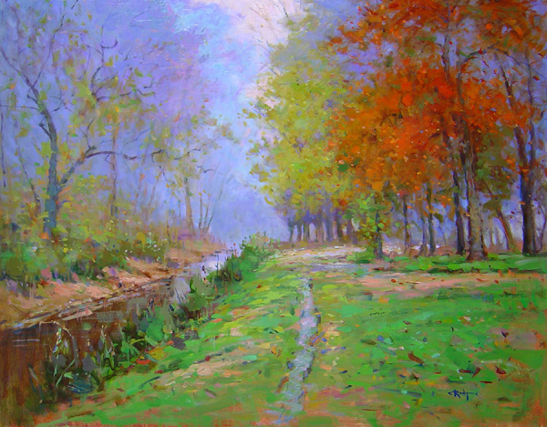 MISTY MORNING ON THE CANAL by Jim Rodgers - 24 x 30 in., o/b • SOLD