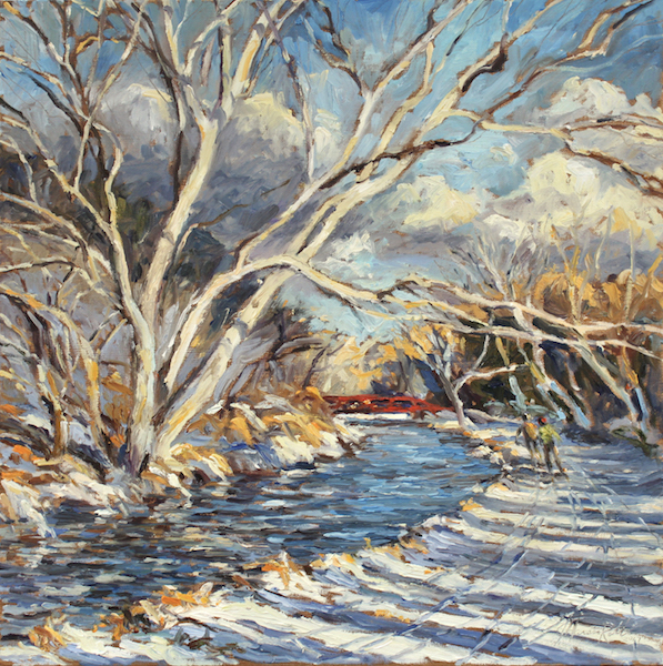 WINTER TOWPATH by Jennifer Hansen Rolli - 20 in. sq., o/c • SOLD (Cover of 2017-2018 Winter issue of Bucks Co. Magazine)