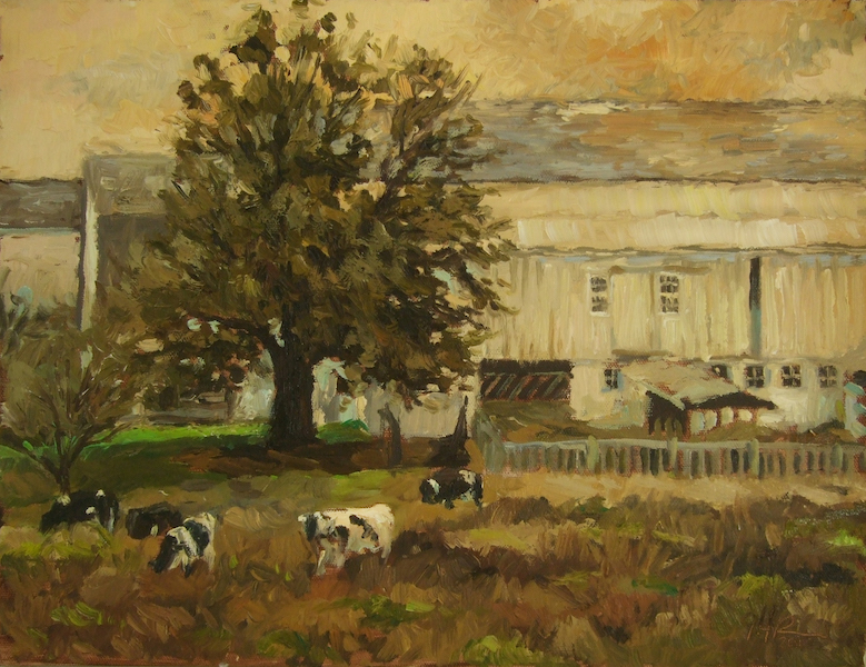 OCHRE PASTURES by Jennifer Hansen Rolli - 12 x 16 in., o/c • SOLD