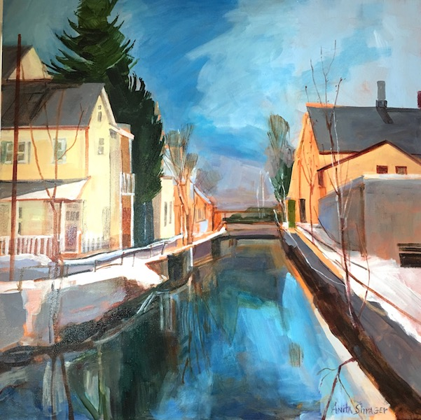 OLD CANAL, LAMBERTVILLE by Anita Shrager - 30 x 30 in., o/c • $6,000
