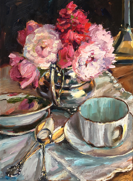 PEONIES IN CREAMER by Jennifer Hansen Rolli - 12 x 9 in., o/c • SOLD SPRING 2018 COVER, MONTCO MAGAZINE!