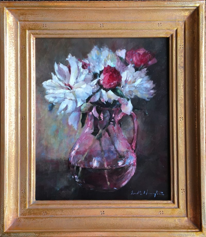PEONIES by Evan Harrington - 12 x 10 in., o/lb, shown in Madary frame • SOLD