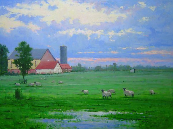 PEACEFUL MORNING PASTURE by Jim Rodgers - 30 x 40 in., o/b • $11,000