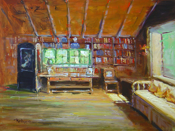 PEARL BUCK'S LIBRARY by Jim Rodgers - 12 x 16 in., o/b • $2,500