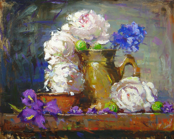 PEONIES & JAPANESE IRISES by Jim Rodgers - 16 x 20 in., o/b • $3,700