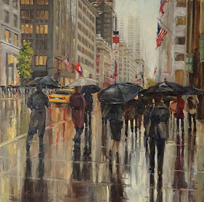 NEW FOR 2018: RAIN ON 5th by Jennifer Hansen Rolli - 24 x 24 in., o/l • SOLD