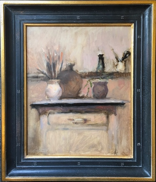 STILL LIFE WITH BRUSHES by David Stier in Madary frame - 13.5 x 11 in., o/p • $2,000