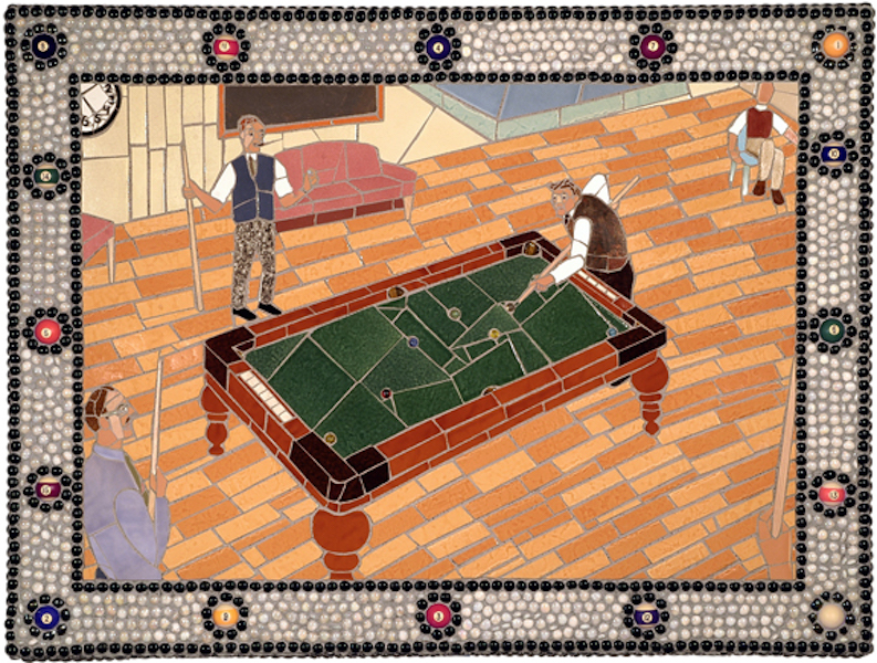 SIDE POCKET by Jonathan Mandell - 36 x 48 x 3 wall mosaic • $9,500