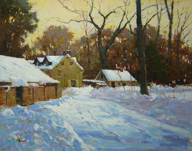 SNOWBOUND IN PHILLIPS MILL by Jim Rodgers - 24 x 30 in., ob • $6,200