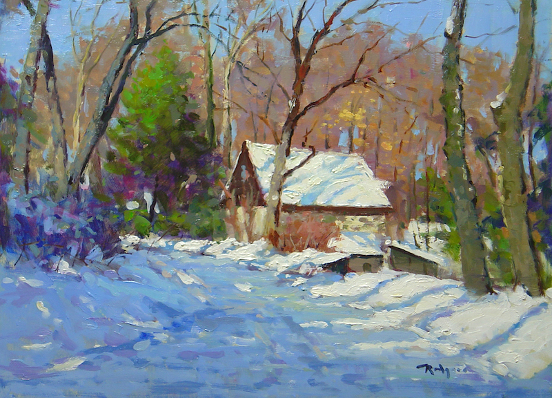 New for 2018! SNOWY DAY, ASH MILL ROAD by Jim Rodgers - 12 x 16 in., ob • $2,500