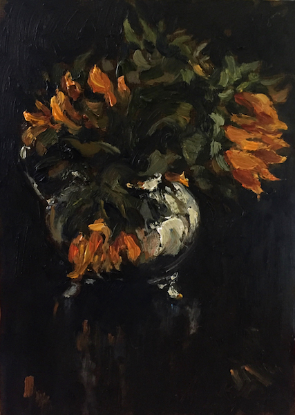 SUNFLOWERS IN CREAMER by Jennifer Hansen Rolli - 7 x 5 in., o/c • SOLD